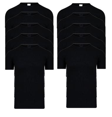 10-pack Heren T-shirts met O-hals en K.M. M3000 Zwart