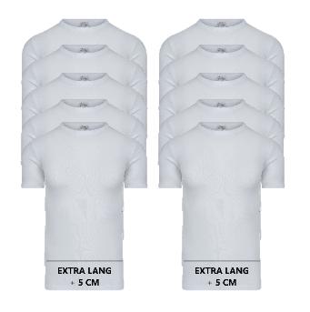 10-pack Extra lange heren T-shirts met O-hals M3000 Wit