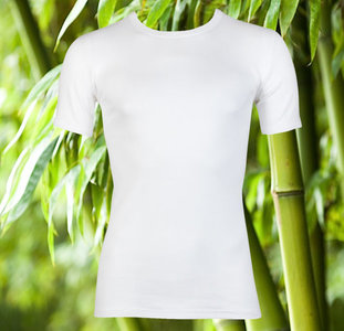 Bamboe heren T-shirt met ronde hals en K.M. Wit